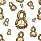 Golden 8 numbers made by spheres isolated on bright background. Happy womans day seamless design pattern. 3d illustration.  Stock Photography