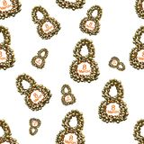 Golden 8 numbers made by spheres isolated on bright background. Happy womans day seamless design pattern. 3d illustration.  Royalty Free Stock Photo