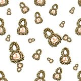 Golden 8 numbers made by spheres isolated on bright background. Happy womans day seamless design pattern. 3d illustration.  Stock Photo