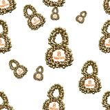 Golden 8 numbers made by spheres isolated on bright background. Happy womans day seamless design pattern. 3d illustration.  Royalty Free Stock Images
