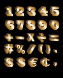 Golden Numbers. A set of 3D golden numbers on neutral black background. Includes some mathematical and monetary symbols Stock Photography