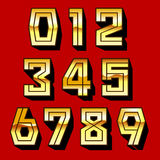 Golden Numbers and shadow  on red backgrond vector illustration Royalty Free Stock Photo