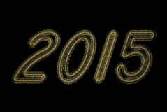 Golden 2015 numbers of tinsel. On black background Stock Photo