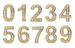 Golden numbers with white diamonds Stock Images