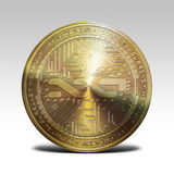 Golden nxt coin isolated on white background 3d rendering. Illustration Royalty Free Stock Photos