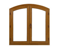Golden oak laminated arched pvc window Stock Photos