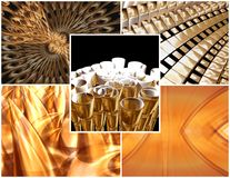 Golden object collage Royalty Free Stock Images