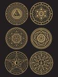 Golden occult, mystic, spiritual, esoteric vector symbols. On black background. Vector illustration vector illustration