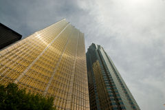 Golden office buildings. Shining in the warm sunlight in downtown Toronto on Front Street Royalty Free Stock Photo