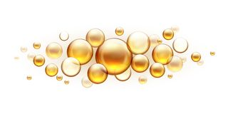 Golden oil bubbles. Cosmetic collagen serum, castor argan jojoba essence vector realistic template isolated on white