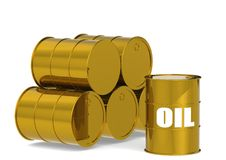 Golden Oil Drums. A 3D rendered artwork with white background royalty free illustration