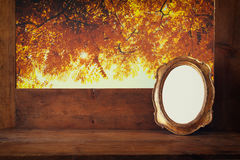 Golden old blank frame on wooden window sill Stock Images