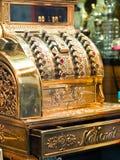 Golden old cash machine. Retro golden Old cash machine Royalty Free Stock Photography