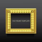 Golden old classic frame  with ionics on dark background Royalty Free Stock Photo