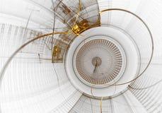 Mechanism, Ancient Golden Cogwheel on White Background Royalty Free Stock Image