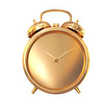 Golden old fashioned   alarm clock on white  background. Stock Images