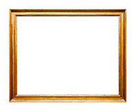 Golden Old Frame, Horizontal, Isolated on White Stock Image
