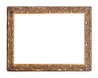 Golden Old Frame, Isolated on White Royalty Free Stock Images