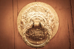 Golden old knocker, vintage style Royalty Free Stock Photo