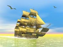 Golden old merchant ship - 3D render. Beautiful detailed golden old merchant ship next to seagulls Stock Image