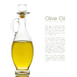 Golden Olive Oil on Glass Bottle with Sample Text. Isolated Royalty Free Stock Images