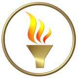 Golden olympic flame. Golden ring with the Olympic flame isolated on white background Stock Images