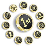 Golden olympic medal(icon) set. Golden olympic medal set(icon, button stock illustration