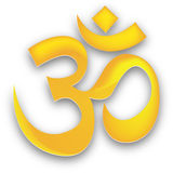 Golden om. Sacred Om symbol - Vector Illustration also Royalty Free Stock Image