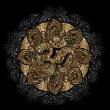 Golden OM mandala. Diwali Om symbol with mandala. Round golden Pattern on black background. Hand drawn Ornate Indian pattern decorative vector elements Royalty Free Stock Images