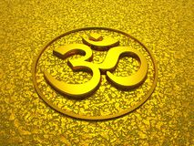 Golden om sign on gold background. 3d symbol on golden structure vector illustration
