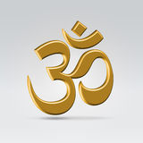 Golden om symbol. Golden glossy om indian symbol hanging in the air over light background Stock Photo