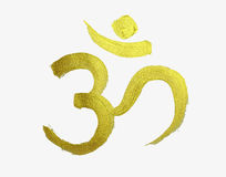 Golden om symbol in hindu religion Stock Image