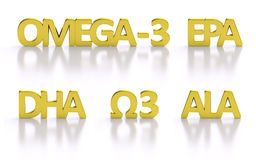 Golden omega-3 fatty acid 3D titles. Isolated gold letters Omega 3 fatty acids: ALA EPA DHA three nutrient form existing in oil necessary for metabolism Stock Photos