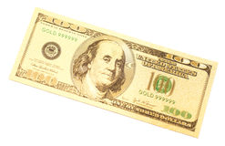 Golden one hundred dollars banknote Stock Images
