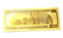 Golden one hundred dollars banknote Stock Images