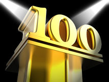 Golden One Hundred On Pedestal Shows Century Stock Image