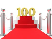Golden One Hundred On Red Carpet Means Movie Royalty Free Stock Photo