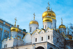 Golden Onion domes of Kremlin cathedral Stock Photos
