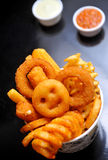 Golden onion rings Stock Images