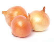 Golden onions. Isolated on white background Stock Photo
