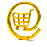 Golden online shopping basket icon 3d. Golden shiny internet on-line shopping basket icon/ button 3d Stock Image