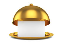 Golden opened cloche with paper template Royalty Free Stock Photo
