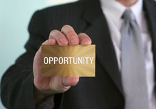 Golden Opportunity. Man holding sign in hand. This is your Golden Opportunity Royalty Free Stock Photo