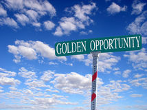 'Golden Opportunity'. Sign that reads 'Golden Opportunity Stock Photography