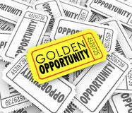 Golden Opportunity Tickets Potential Possibility Great Chance. Golden Opportunity words on a gold or yellow ticket to illustrate great potential and possibility Royalty Free Stock Photography