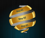 Golden options banners and numbers design. I have created Vector step golden options banners and numbers design in vector royalty free illustration