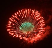 Golden orange amazing fireworks isolated in dark background close up with the place for text, Fireworks festival in ZURRIEQ, Malta Royalty Free Stock Photography