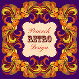 Golden and orange frame with painted peacock feathers Retro label. Royalty Free Stock Image