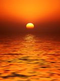 Golden Orb Sunset. The sun was a glorious golden orb through haze on the horizon stock illustration