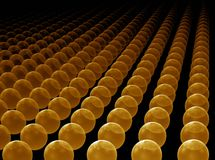 Golden orbs horizon. Abstract illustration of golden orbs horizon, perspective view Royalty Free Stock Photography